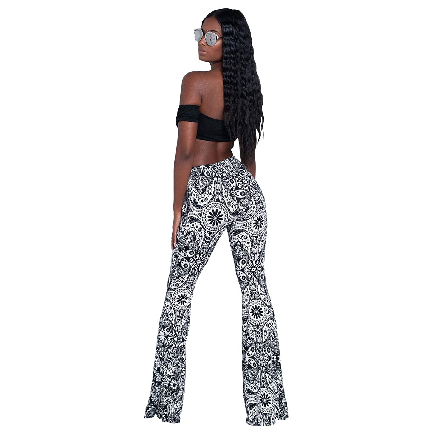 BBesty Big Sale Womens Trousers High Waist Casual Tight Bell Bottom Pants Wide Leg Printed Flared Pants