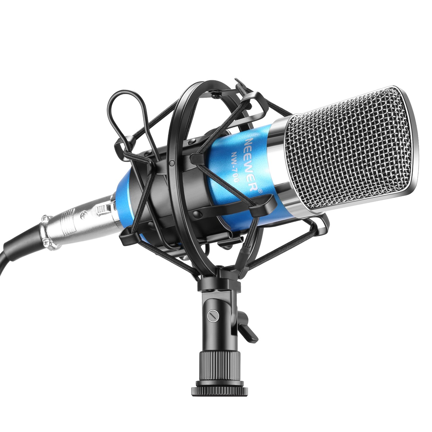 Neewer NW-700 Professional Studio Broadcasting & Recording Condenser Microphone Set Including: (1)NW-700 Condenser Microphone + (1)Metal Microphone Shock Mount + (1)Ball-type Anti-wind Foam Cap + (1)Microphone Audio Cable (Blue)