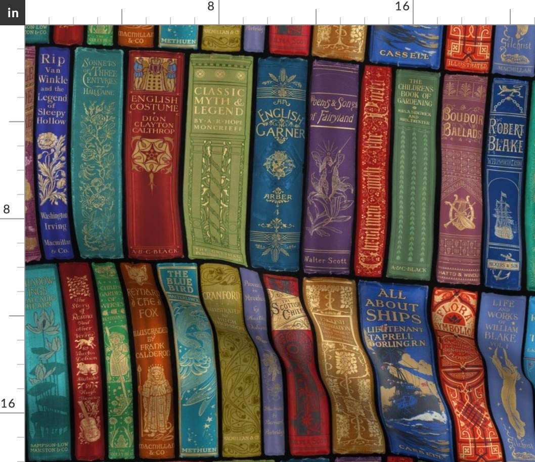 Spoonflower Fabric - Library Bright Books Shelves Antique Vintage English Rainbow Printed on Petal Signature Cotton Fabric by The Yard - Sewing Quilting Apparel Crafts Decor