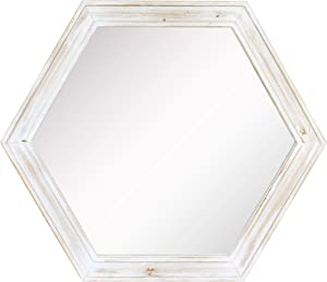 """Stonebriar Decorative 24"""" Hexagon Wall Mirror with Worn White Painted Wood Frame and Attached Hanging Bracket, 24"""" x 21"""""""