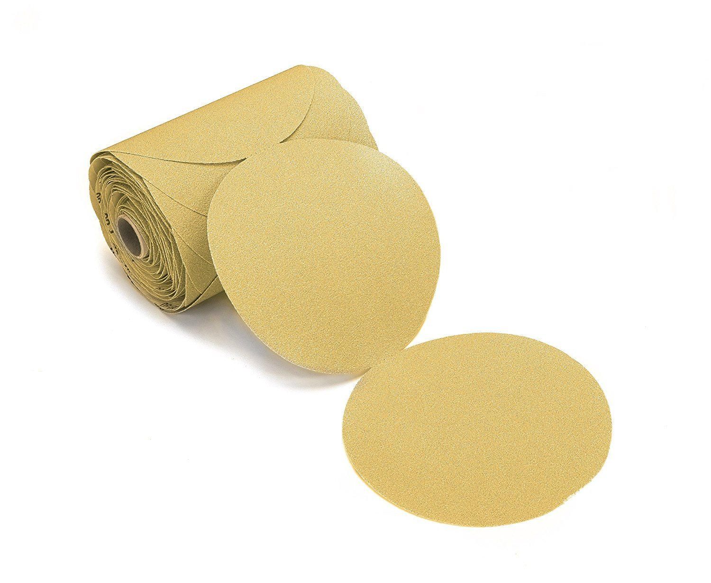 100 Pack 150 Grit 6 Inch Discs On a Roll PSA Gold Sticky Back DA Sanding Paper
