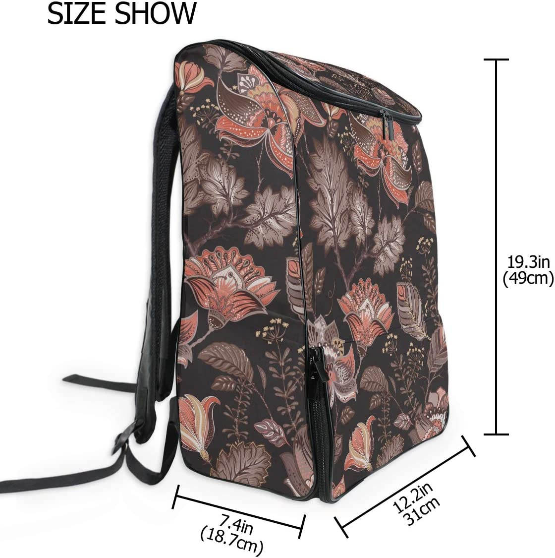MONTOJ Travel Gear Laptop Backpack Retro Floral Pattern Carry-On Travel Backpack