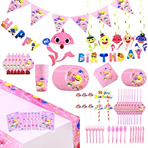 142 Pcs Pink Baby Cute Shark Party Favor Party Decorations Birthday Theme Party Supplies, Flatware, Spoons, Knife, Fork, Plates, Straws, Cups, Banner, Table Covers, Napkins Blowouts, Cake Toppers, Balloon, Pennant, Tablecloth Birthday Party Favor Pack Set for Kids Girl