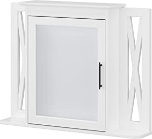 Bush Furniture Key West Bathroom Medicine Cabinet with Mirror, White Ash