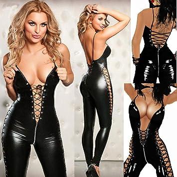 size 40 aea46 f32c3 Sexy Dessous Hot Frauen Gefangenen Wild Charm PU Leder Teddy Sexy Babydoll  Mini Kleid Kostüme