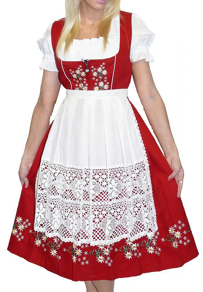 Dirndl Trachten Haus 3-Piece Long German Wear Party Oktoberfest Waitress Dress 16 46 Red
