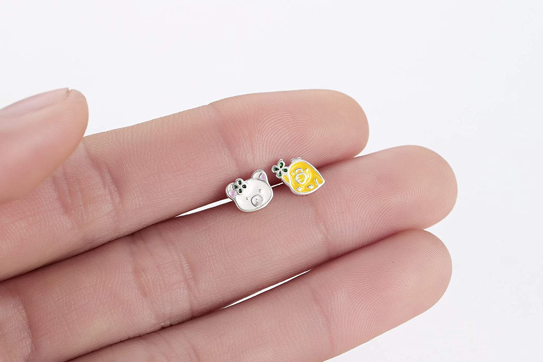 Chengxun Tiny Small Little Pig Cute Piggy Enamel Animal Stud Earrings