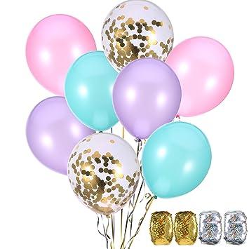 Jovitec 40 Piezas de Globos 12 Pulgadas Azul, Rosa, Morado y Dorado Globos de Confeti para Decoración de Cumpleaños de Sirena