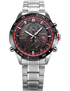 Carrie Hughes Mens Watches Stainless steel Military Sports 30M Waterproof Auto Calendar Watches