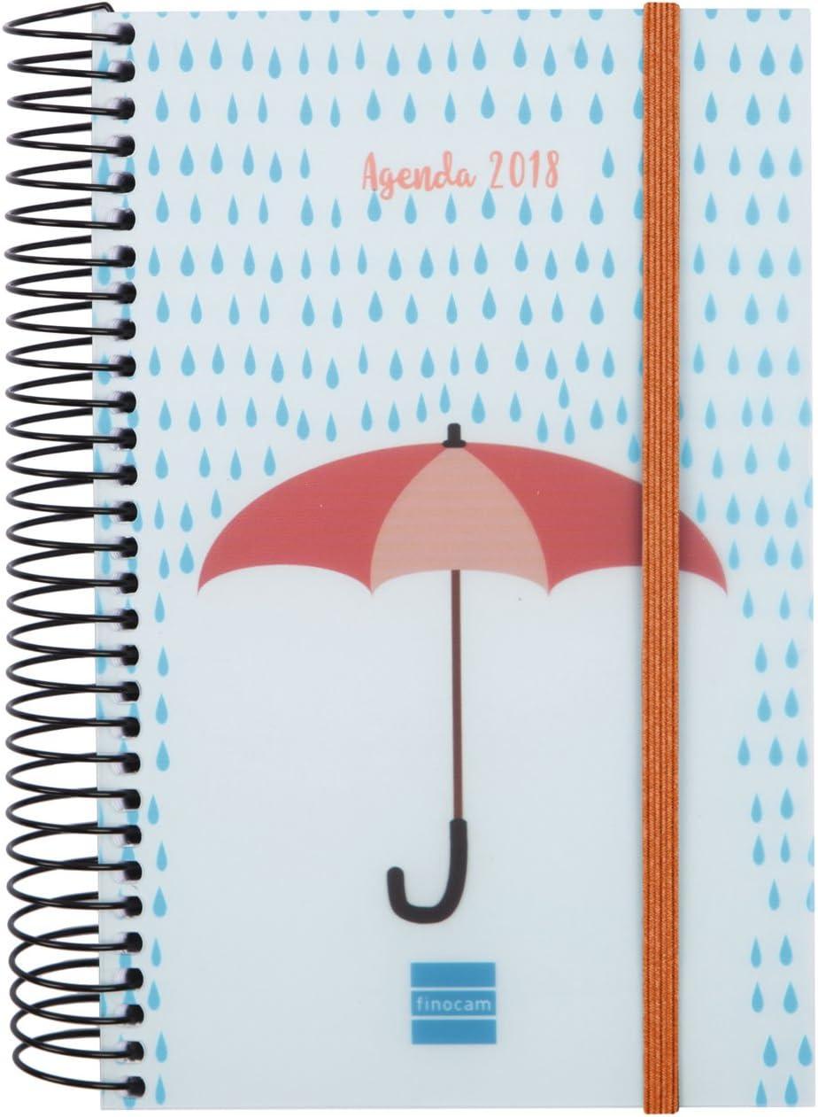 Finocam Espiral Design - Agenda 2018, día página, diseño Paraguas, español, 117 x 181 mm, 70 g/m²: Amazon.es: Oficina y papelería