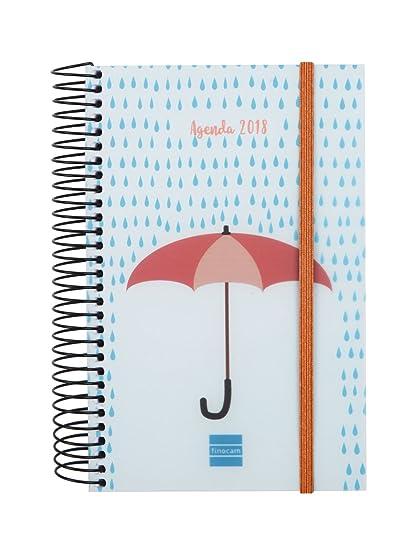 Finocam Espiral Design - Agenda 2018, día página, diseño Paraguas, español, 117 x 181 mm, 70 g/m²
