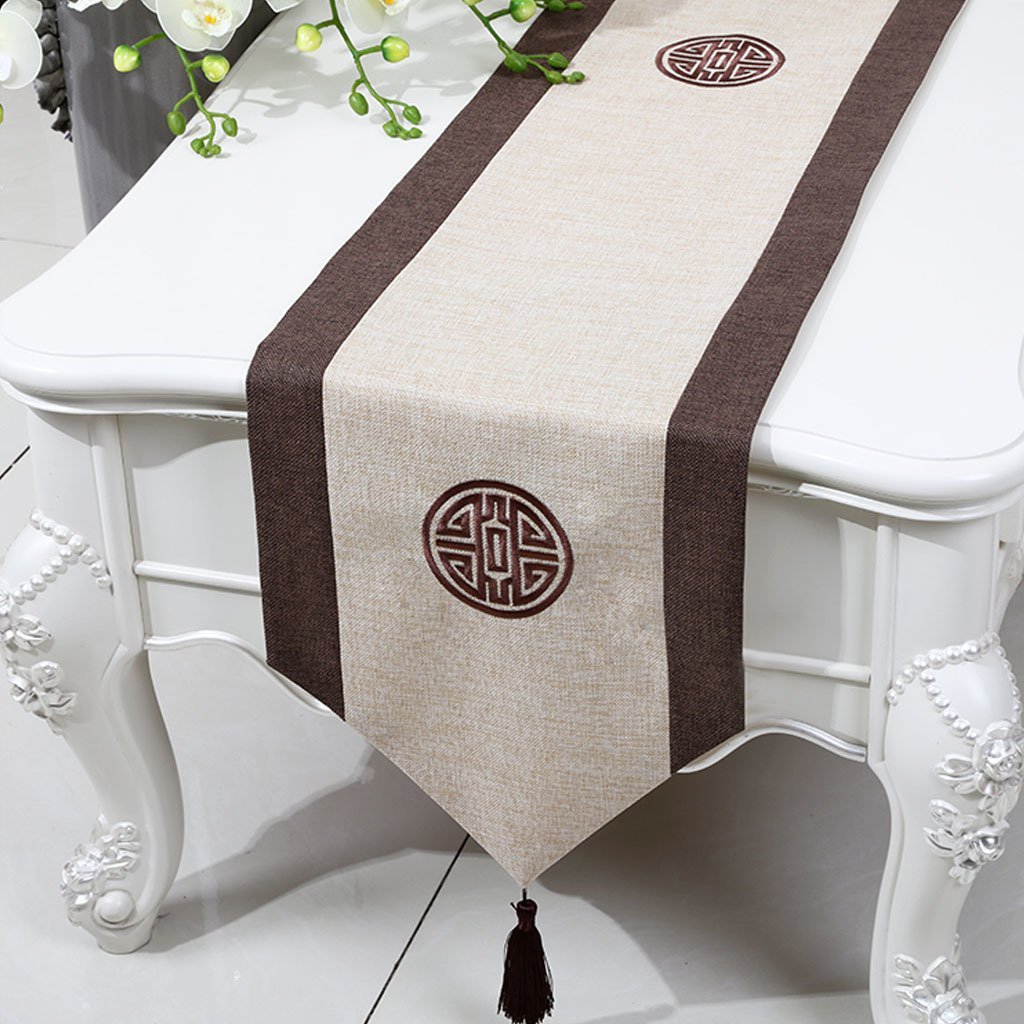 LINGZHIGAN Amarillo Flor Patrón Tela Corredor de tabla Moderno Simple Moda Upscale Salón Cocina Restaurante Hotel Textiles para el Hogar (Este producto sólo vende corredor de mesa) 33  150cm