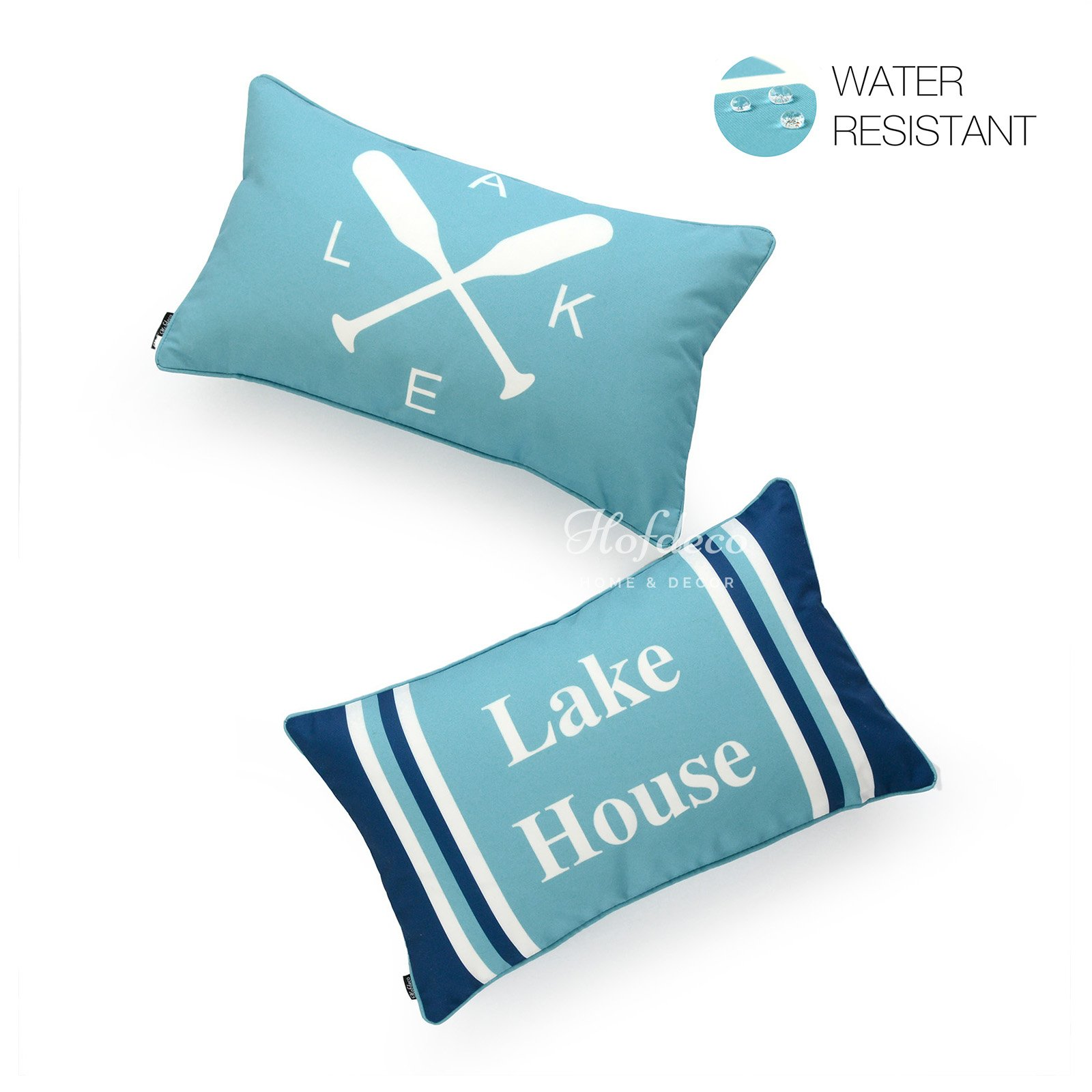 Hofdeco Decorative Lumbar Pillow Cover INDOOR OUTDOOR WATER RESISTANT Canvas Summer Lake Aqua Turquoise Navy Blue Lake House Word 12''x20'' Set of 2