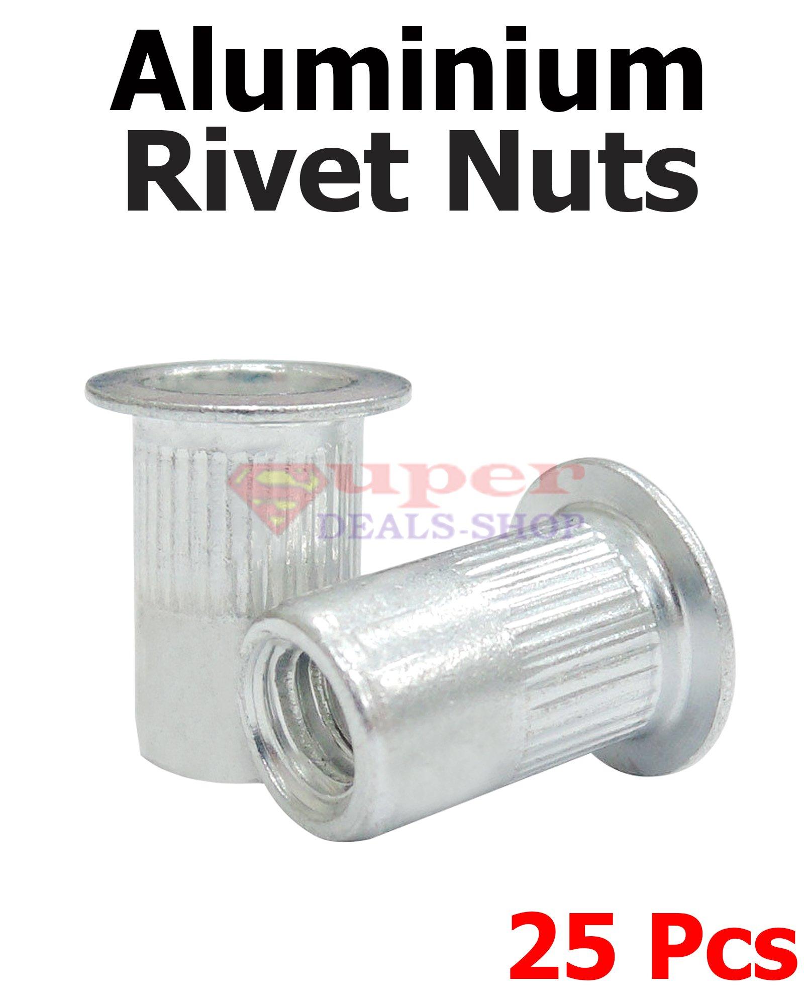 25 Pcs Aluminium Rivet Nuts Rivnut Insert Nutsert Rivet Nuts 1/4-20 UNC Super-Deals-Shop