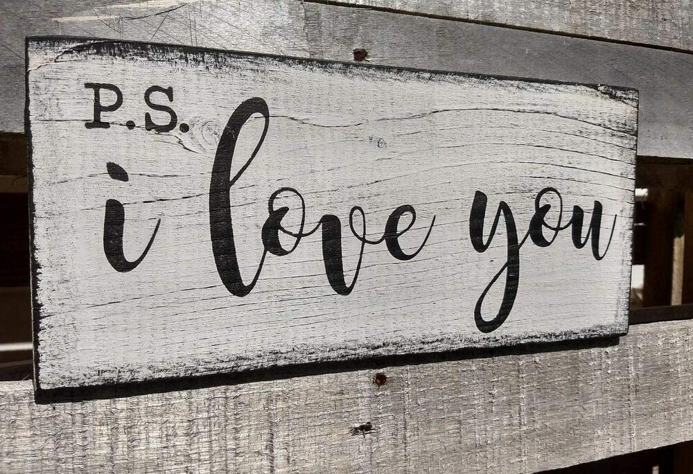 PotteLove Farmhouse Wood Sign Ps I Love You Home Decor Wood Rustic Kitchen Family Friends