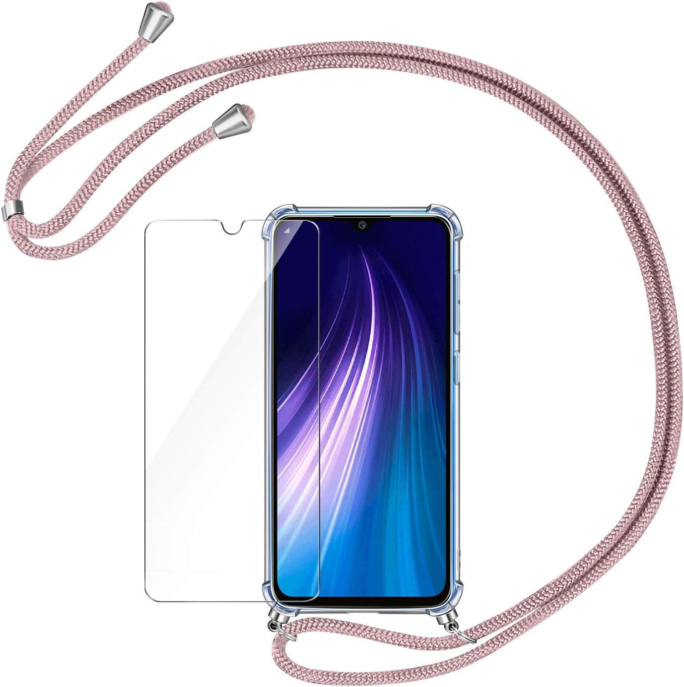 AROYI Funda con Cuerda para Xiaomi Redmi Note 8 + Protector Pantalla, Carcasa Transparente TPU Silicona Case con Colgante Ajustable Collar Correa de Cuello Cordón para Xiaomi Redmi Note 8 - Oro Rosa