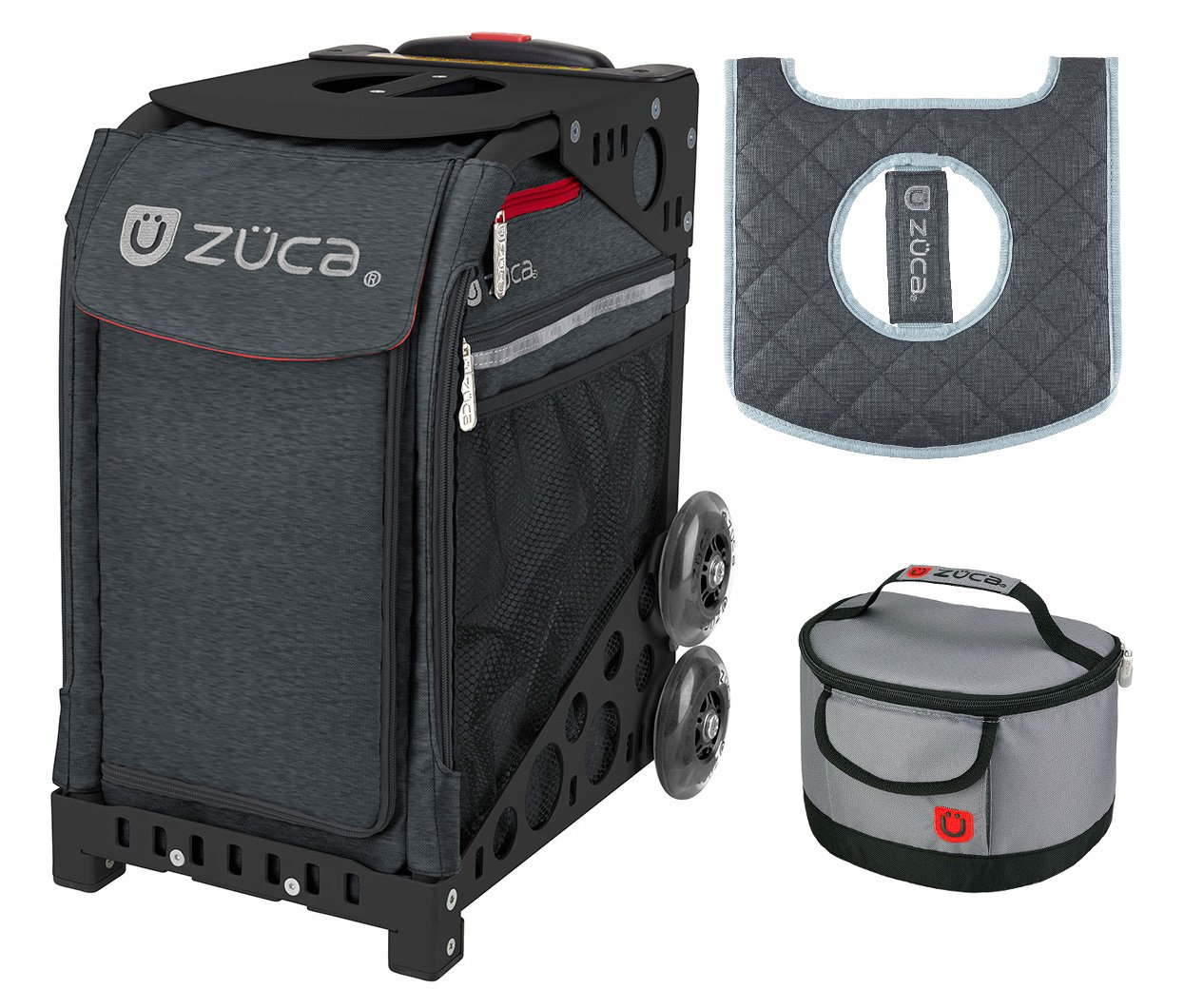 Zuca Sport Bag - Asphalt Gray Heather with Gift Lunchbox and Seat Cover (Black Non-Flashing Wheels Frame)