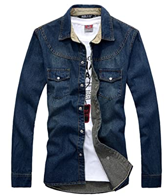 Men's Long Sleeve Shirt, Denim at Amazon Men's Clothing store: