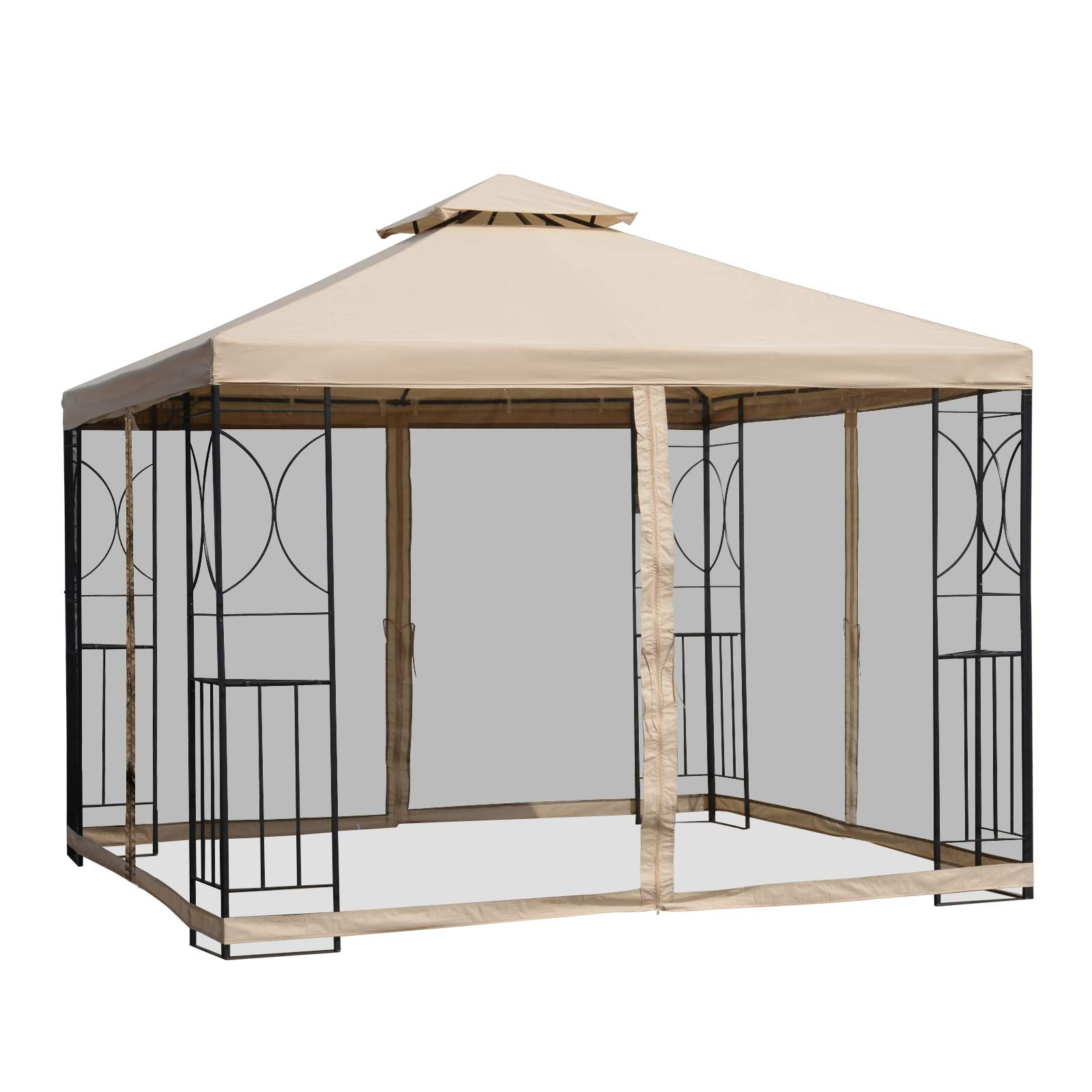 Outsunny 10' x 10' Steel Fabric Square Outdoor Gazebo with Mosquito Netting - Sand
