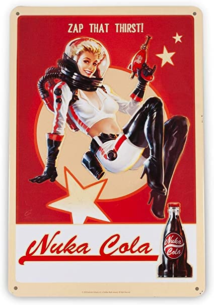 FanWraps Fallout 76 Nuka Cola Girl Metal Sign Official Lithograph Wonderful 6 x 9 Video Game Decor