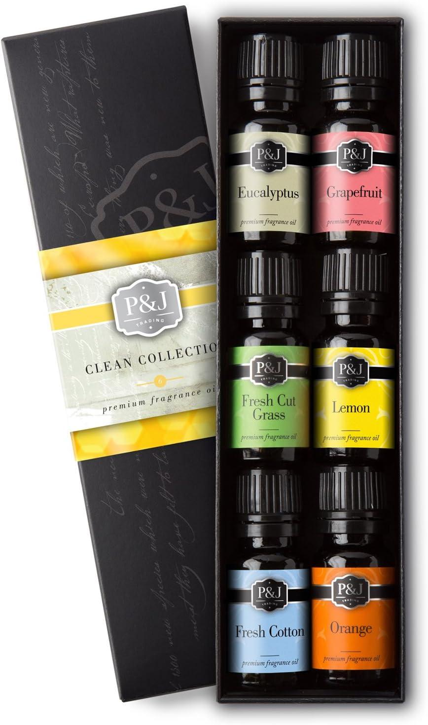 Clean Set of 6 Premium Grade Fragrance Oils - Fresh Cotton, Lemon, Orange, Grapefruit, Fresh Cut Grass, Eucalyptus - 10ml