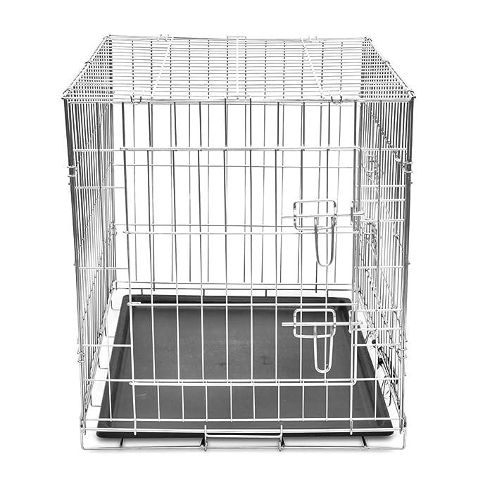 vidaXL Jaula metálica y plegable para perros, tamaño L: Amazon.es: Productos para mascotas