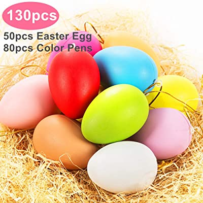 50Pcs Plastic Easter Eggs + 80 Color Pens For Easter Theme Party Favors, Classroom Prize Supplies, Basket Stuffers Fillers, Easter Hunt: Toys & Games