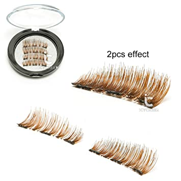 8cce43110a1 ICYCHEER Brown Color Magnetic Eyelashes 1 Pair (4pcs) Triple Magnetic False  Eyelashes No Glue