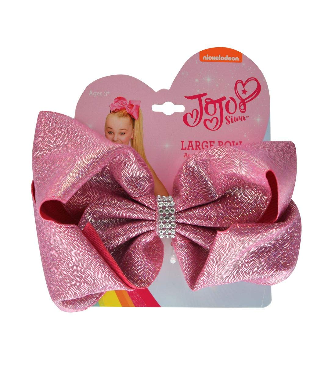 Mozlly Value Pack - JoJo Siwa Girls Rhinestone Pastel and Pink Glitter Signature Collection Hair Bow Clips - 5 x 5 inch - Elastic Pony - Novelty Fashion Collectibles (2 Items) by Mozlly (Image #3)