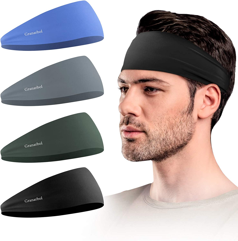 Stretchy Moisture Wicking Unisex Hairband Granarbol Headbands for Men and Women Basketball Non Slip Lightweight Mens Sweatband /& Sports Headband for Running 4 Pack Hiking,Yoga