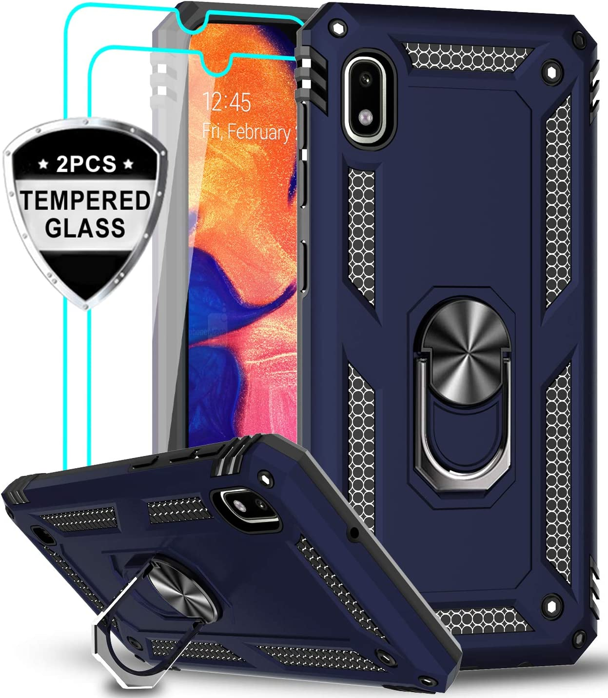 LeYi Samsung Galaxy A10 Case (Not Fit A10E) with Tempered Glass Screen Protector [2 Pack], Military Grade Defender Protective Phone Case with Car Ring Holder Kickstand for Samsung A10, JSFS Blue