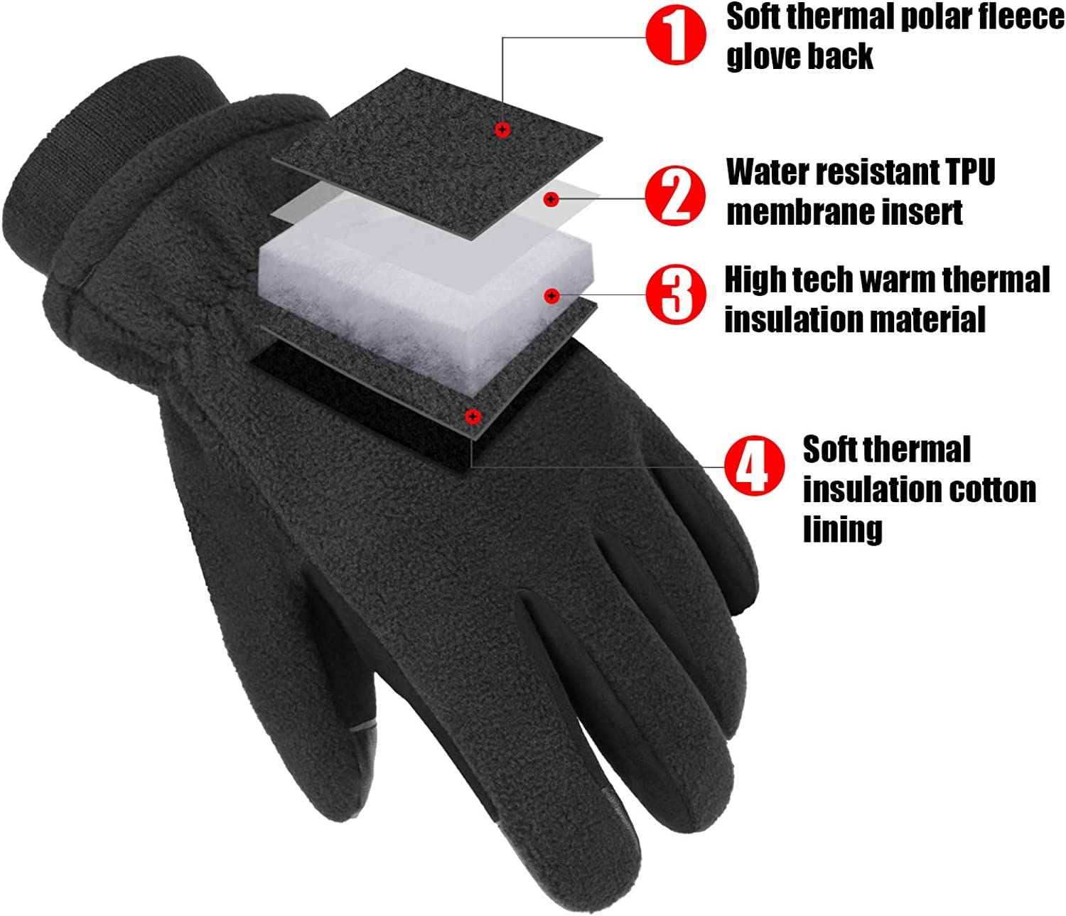 Cierto Touch Screen Winter Gloves for Men,Water Resistant Gloves for Ski,Running,Motorcycle,Work in Snow Weather