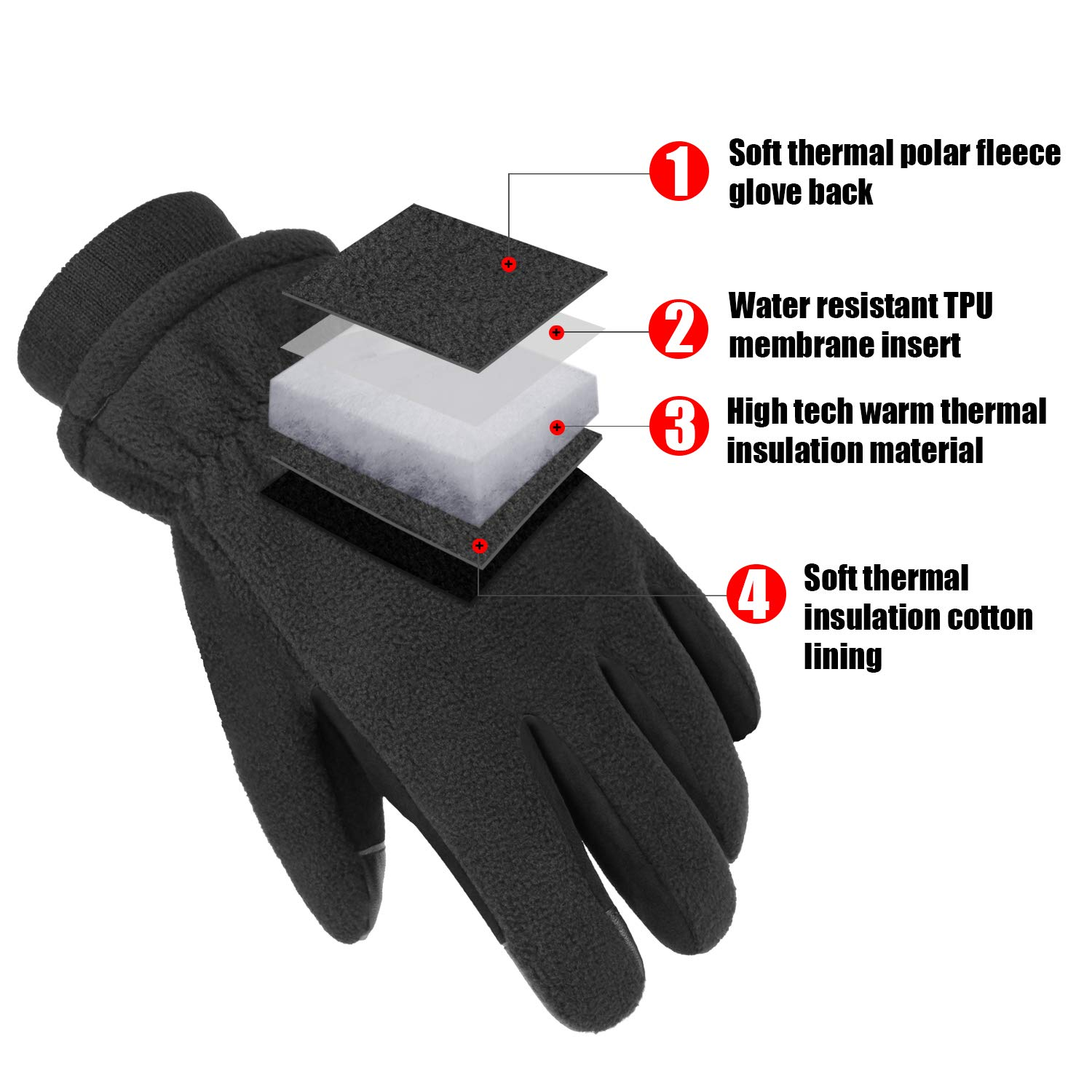 Cold Weather Winter Gloves Touchscreen /& Water Resistant For Men 30℉ XX-Large