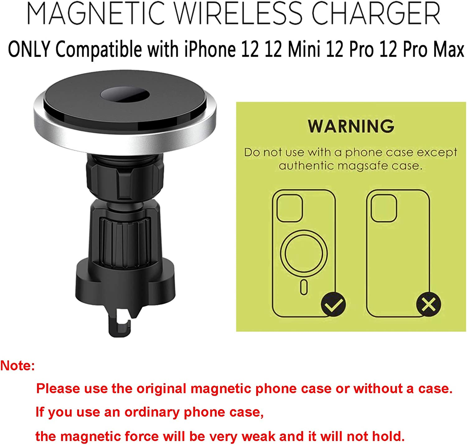 Magnetic Mag-Safe Car Mount Air Vent Mount Car Phone Holder Compatible with iPhone 12//12 Mini//12 Pro//12 Pro Max Cell Phone Fast Charger Magnetic Wireless Car Charger Mount