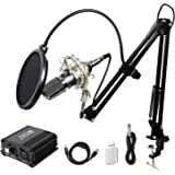 TONOR Pro Condenser Microphone XLR to 3.5mm Podcasting Studio Recording Condenser Microphone Kit Computer Mics with 48V…