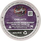 Timothy's Chai Latte Single Serve Keurig Certified Recyclable K-Cup pods for Keurig Brewers, 12 Count