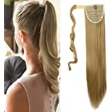 """23""""/26"""" Queue de Cheval Postiche Extension de Cheveux (Attachée par Bande Scratch) Lisse - Wrap Around Ponytail Clip in Hair Extensions"""