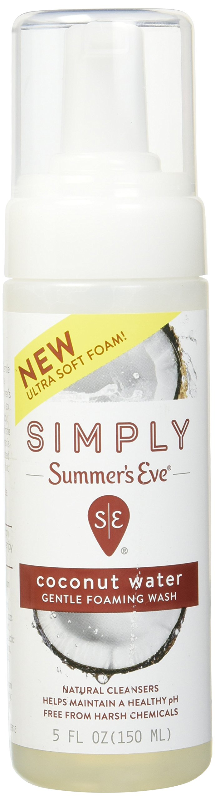 Simply Summer's Eve Gentle Foaming Wash - Helps Maintain a naturally healthy pH - Free From Harsh Chemicals, Dyes, Alcohol, and Parabens - Gynecologist Tested -  Coconut Water - 5 Ounce