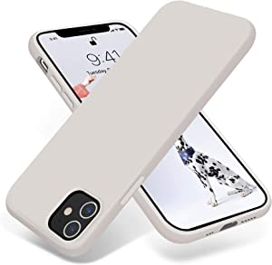 OTOFLY Compatible with iPhone 12 Case and iPhone 12 Pro Case 6.1 inch(2020),[Silky and Soft Touch Series] Premium Soft Liquid Silicone Rubber Full-Body Protective Bumper Case (Stone)