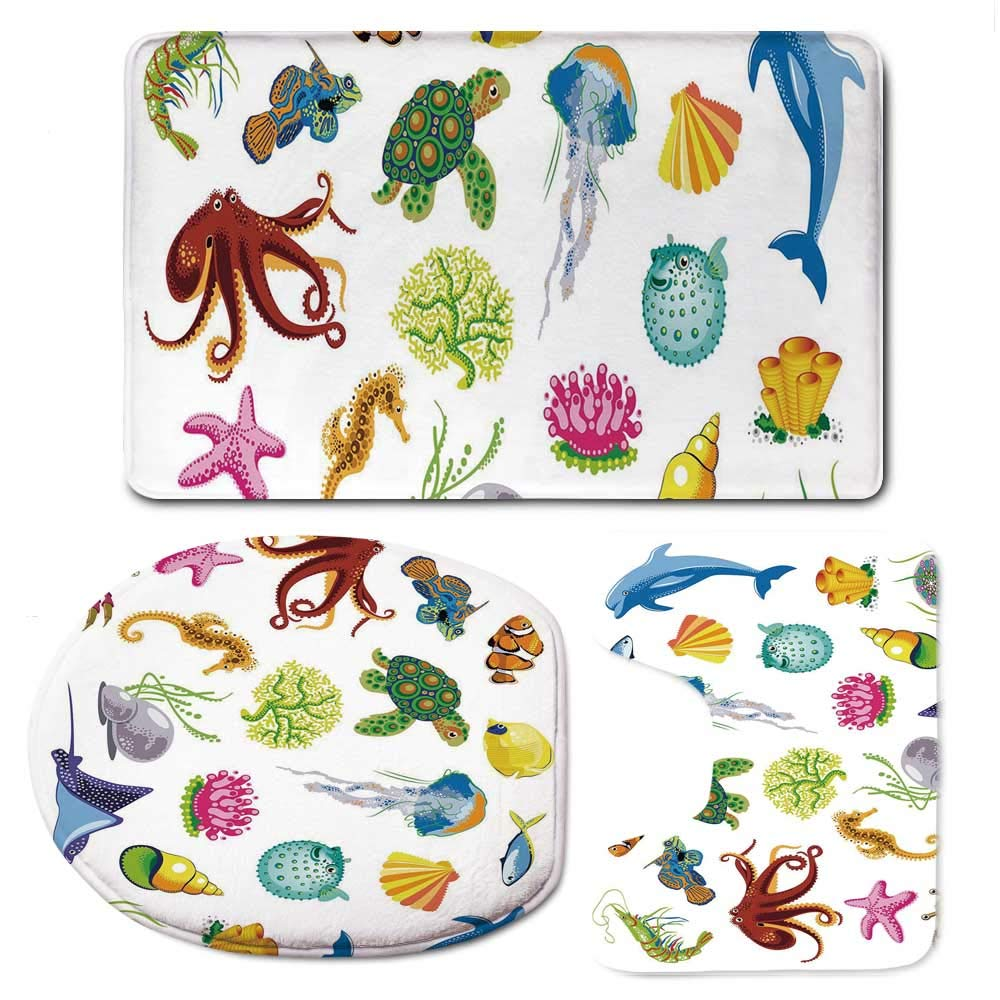 YOLIYANA Marine Bathroom 3 Piece Mat Set,Sea Animals Octopus Dolphin Shells Stingray Crab Turtle Jellyfish Wildlife Graphic for Indoor,F:20'' W x31 H,O:14'' Wx18 H,U:20'' Wx16 H
