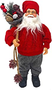 """Design Combined Inc Standing Santa W/Bag Statue Christmas Holiday Figurine Home Office Fireplace Mantel Tree Decoration 12"""""""