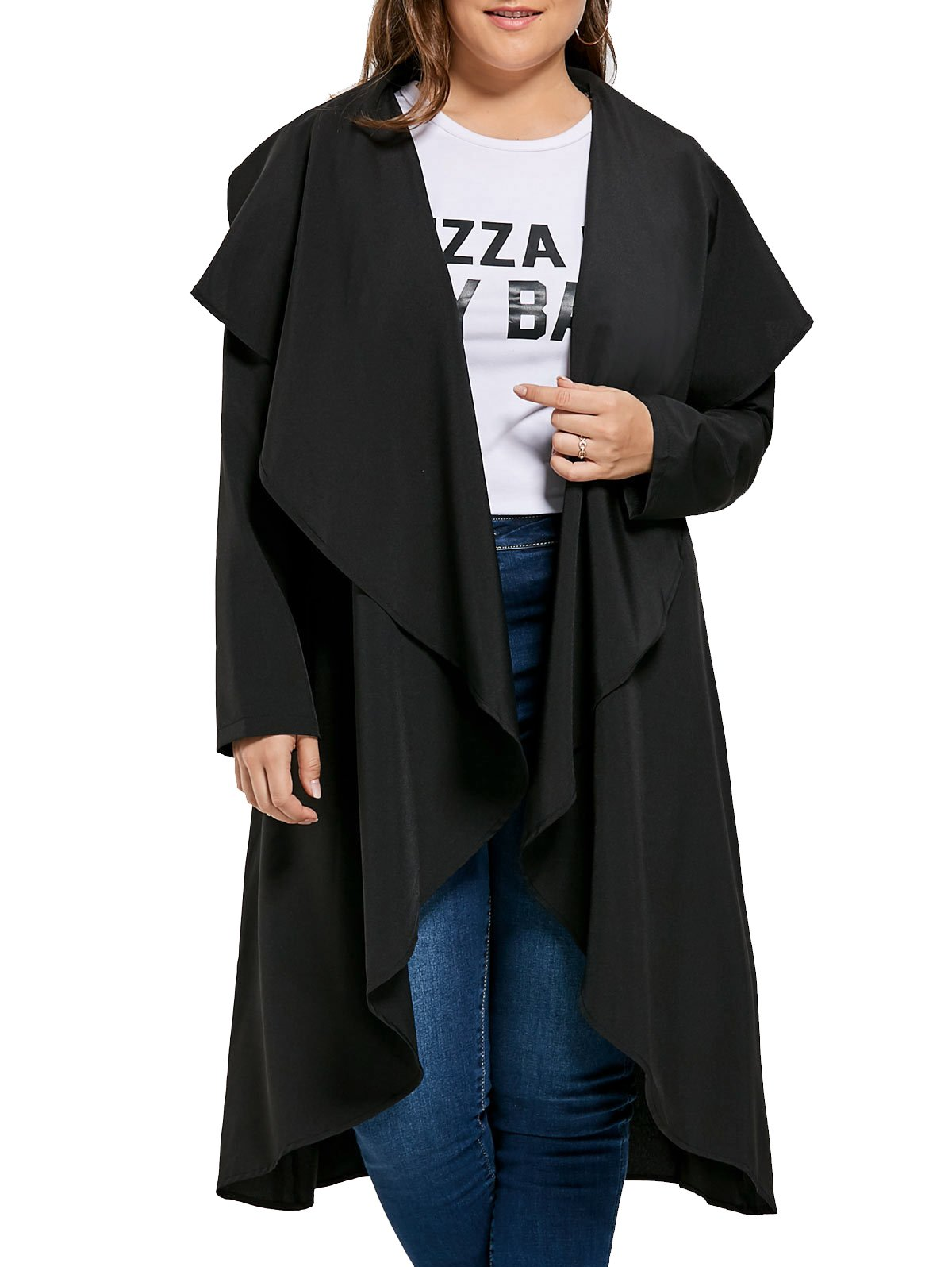 Simplee Plus Women's Long Sleeve Lightweight Thin Casual Drap Cardigan Coat