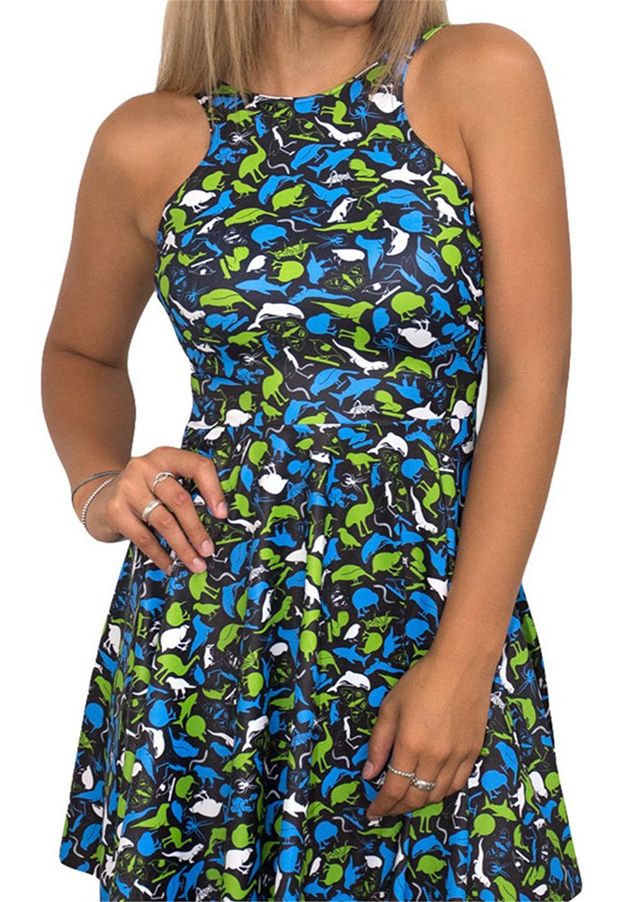 Summer Tank Dresses Casual Women/Girl Cartoon Fish&Dinosaur Print Swim Mini Dress Sleeveless