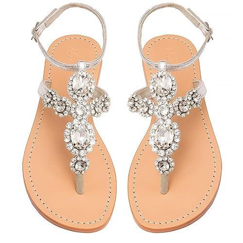 99c8273c909c2 Mystique Original Genuine Leather Women s Handmade Jeweled   Embellished  Silver Diamonte Ankle Strap Flat Bridal