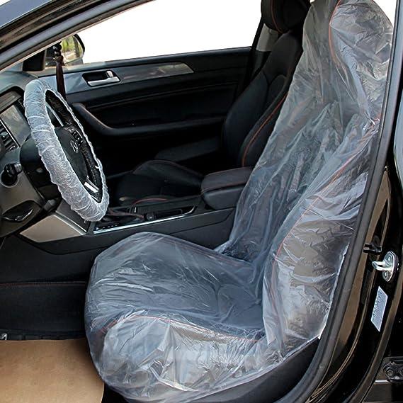 BESPORTBLE 100 Pezzi di Plastica Monouso Coprivolante Coprivolante in Plastica Bianca Universale Avvolgibile con Pellicola per Volante per Auto