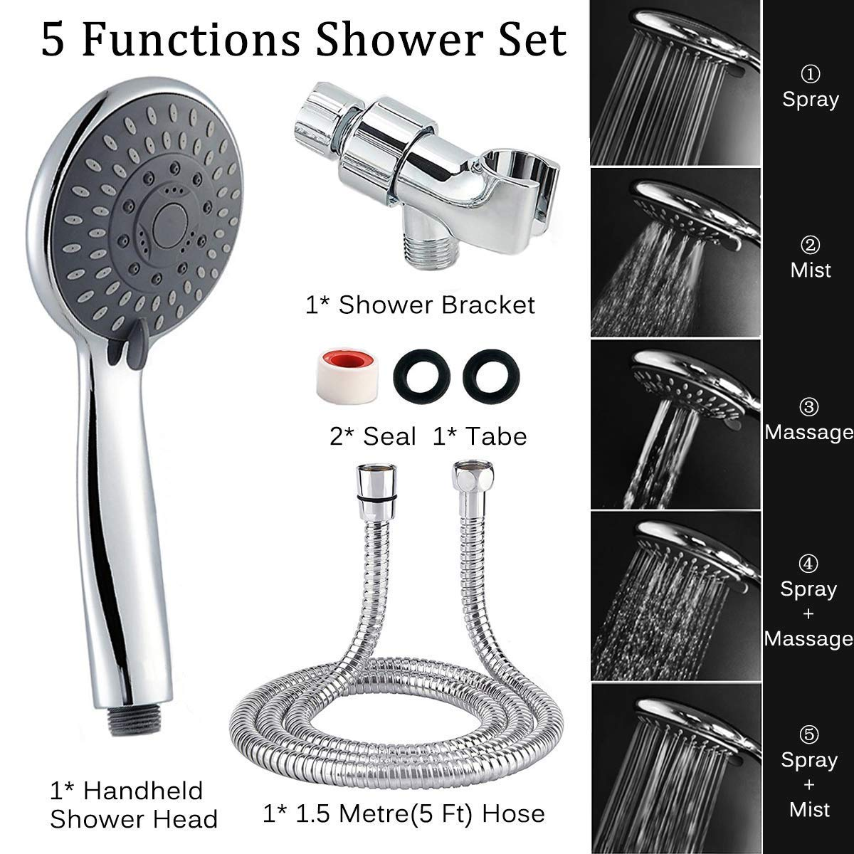 "Shower Head, Arespark 5-Settings 4.1"" Chrome Face High Pressure Handheld Shower Head, Premium Luxury Rainfall Spa Detachable Shower Set, Bathroom Accessories for The Ultimate Shower Experience product image"