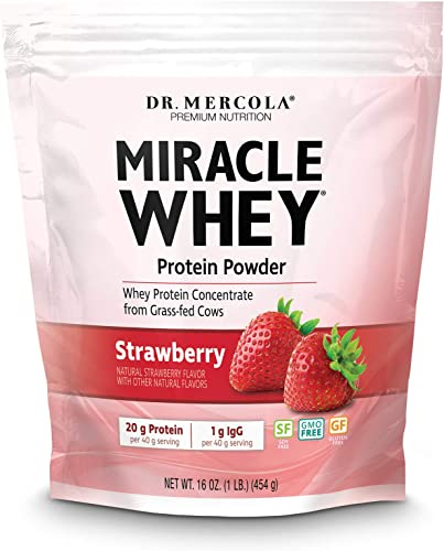 Dr. Mercola Miracle Whey Strawberry 1 lb 16 oz , About 11 Servings, Non GMO, Gluten Free, Soy Free