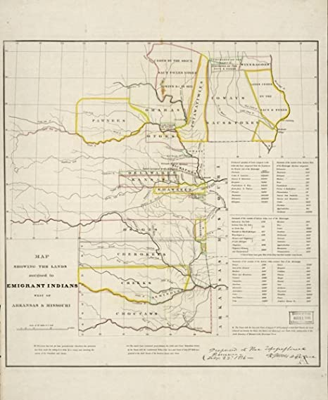 Amazon com: 1836 Map West of Arkansas and Missouri showing the lands