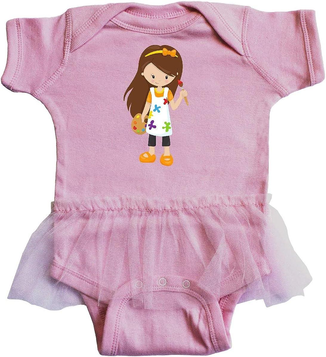 Paint Artist Infant Tutu Bodysuit inktastic Cute Girl Brown Hair Painter
