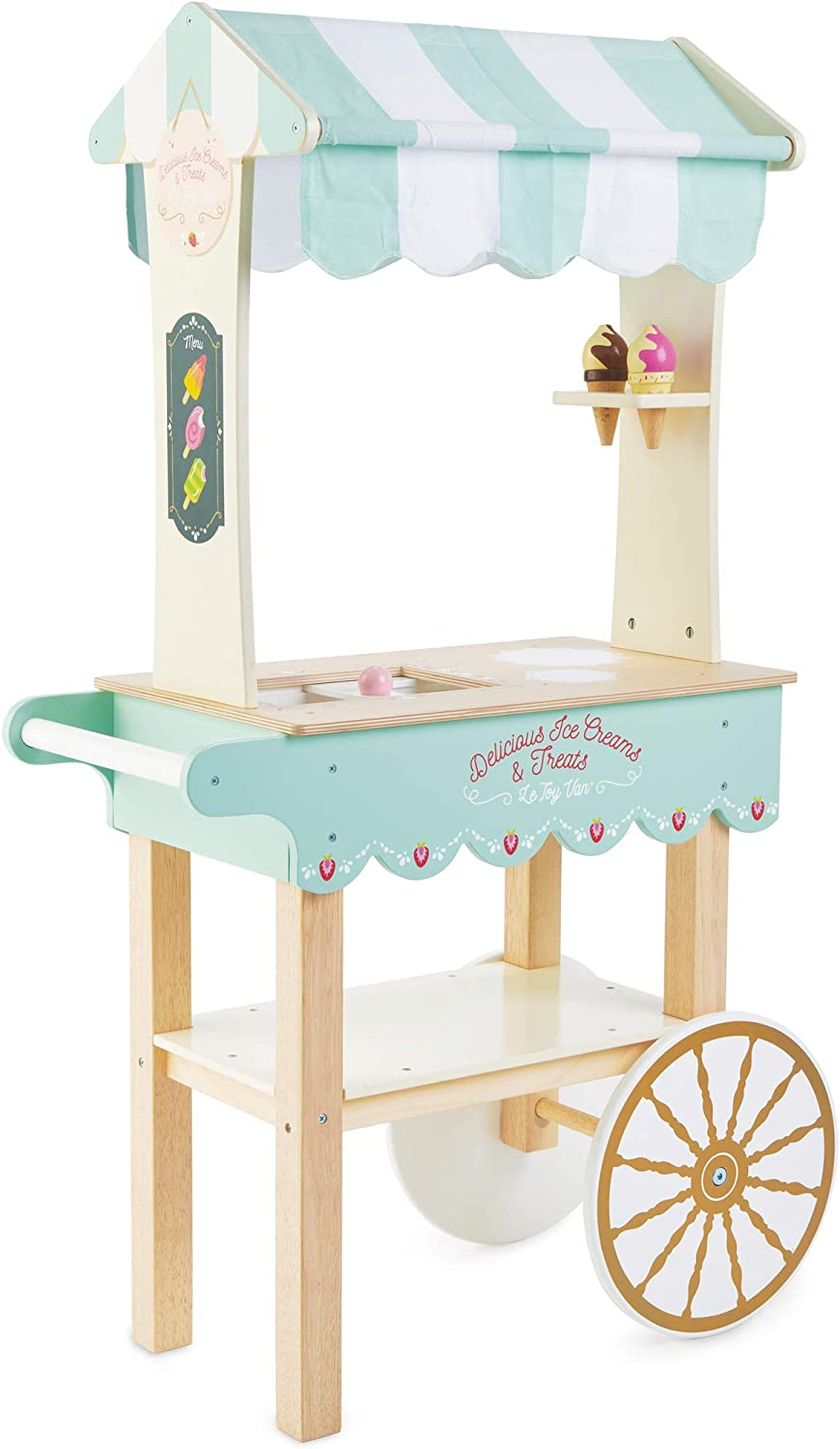Le Toy Van Honeybake Collection Ice Cream & Treats Trolley Premium Wooden Toys for Kids Ages 3 Years & Up
